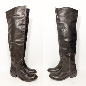 Bronx Brown Leather Over the Knee High Boots